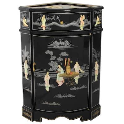 Black Lacquer Small Corner Cabinet