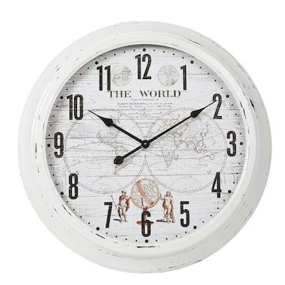 World Iron and Glass White Wall Clock