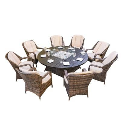 Irene Brown 9-Piece Wicker Outdoor Fire Pit Set with Round Table and Beige Cushions