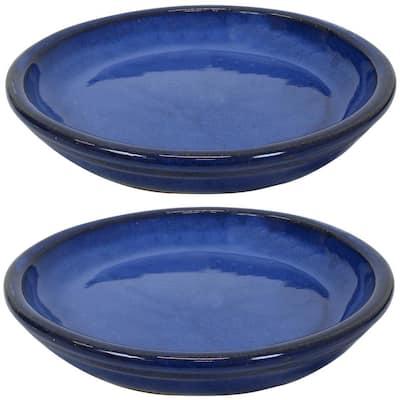 9.75 in. Imperial Blue Ceramic Planter Saucer (Set of 2)