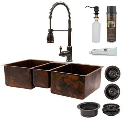 All-in-One Dual Mount Copper 42 in. 0-Hole Triple Basin Kitchen Sink in Oil Rubbed Bronze