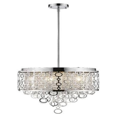6-Light Chrome Pendant with Chrome Stainless Steel Shade