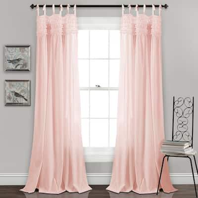 Blush Solid Tie Top Room Darkening Curtain - 40 in. W x 84 in. L  (Set of 2)
