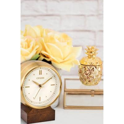 Contemporary Gold Table Clock with Bluetooth