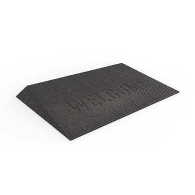 TRANSITIONS Black 43 in. W x 25 in. L x 2.5 in. H Rubber Angled Entry Door Threshold Welcome Mat