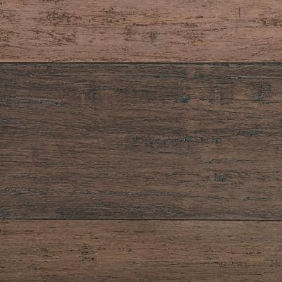 Hand Scraped Strand Woven Terra Cotta 3/8 in. T x 5-1/5 in. W x 36.02 in. L Engineered Click Bamboo Flooring