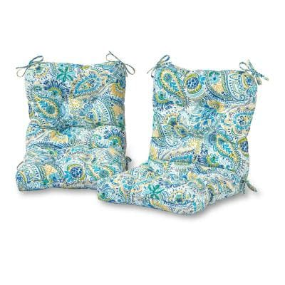 Baltic Paisley 21 in. x 42 in. Outdoor Dining Chair Cushion (2-Pack)