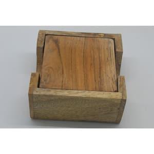 Light Wood Coasters with Light Wood Caddy (4 pc set)