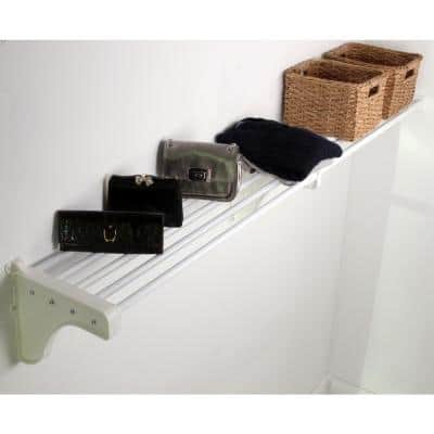 Expandable Closet Shelf (No Hanging Rod) 17.5 in.- 27 in. White Mounts Between 1 Side Wall & 1 Back Wall (1 End Bracket)