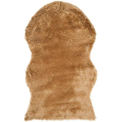 Faux Sheep Skin Camel 3 ft. x 5 ft. Area Rug