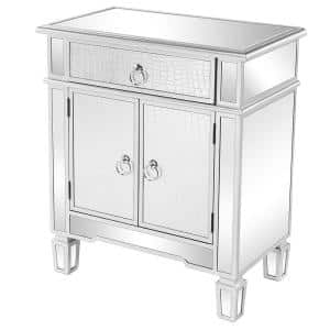 1-Drawer 2-Doors Silver Mirror Chest of-Drawers 27.9 in. H x 23.6 in. W x 13 in. D