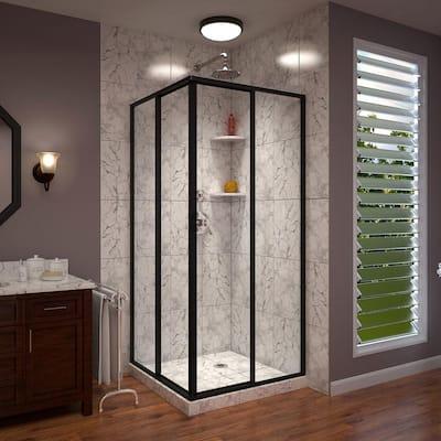 Cornerview 40-1/2 in. D x 40-1/2 in. W x 72 in. H Framed Corner Sliding Shower Enclosure in Satin Black