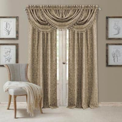 Taupe Damask Blackout Curtain - 52 in. W x 84 in. L
