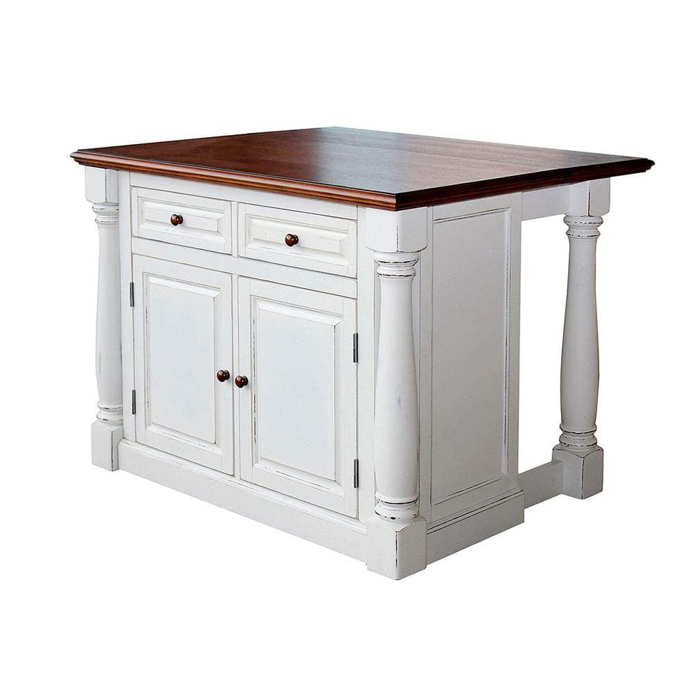 Homestyles Monarch White Kitchen Island With Drop Leaf 5020 94 The Home Depot