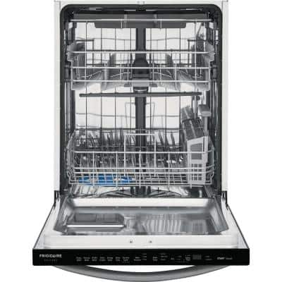 24 in. Smudge Proof Black Stainless Steel Top Control Built-In Tall Tub Dishwasher with Stainless Steel Tub, 49 dBA