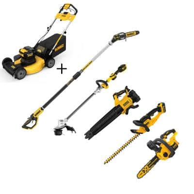 21.5 in. 20V Li-Ion Cordless Battery Walk Behind Self Propelled Mower w/Hedge Kit, Bare Trimmer, Blower, Pole & Hand Saw