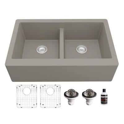 QA-750 Quartz/Granite 34 in. Double Bowl 50/50 Farmhouse/Apron Front Kitchen Sink in Concrete with Grid and Strainer