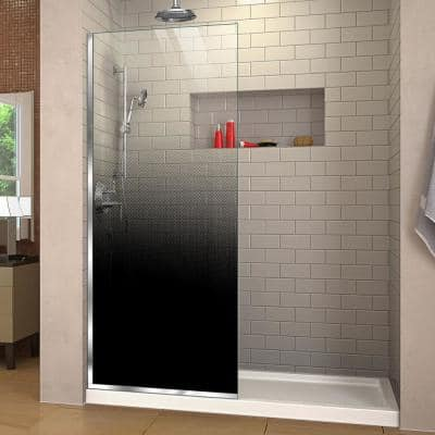 Linea Ombre 34 in. W x 72 in. H Frameless Fixed Shower Screen in Chrome without Handle