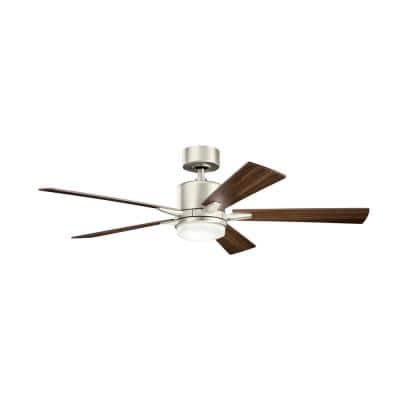 Lucian 52 in. Integrated LED Indoor Brushed Nickel Downrod Mount Ceiling Fan with Light Kit and Wall Control