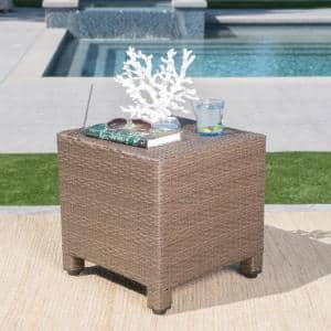 Maverick Light Brown Square Wicker Outdoor Side Table