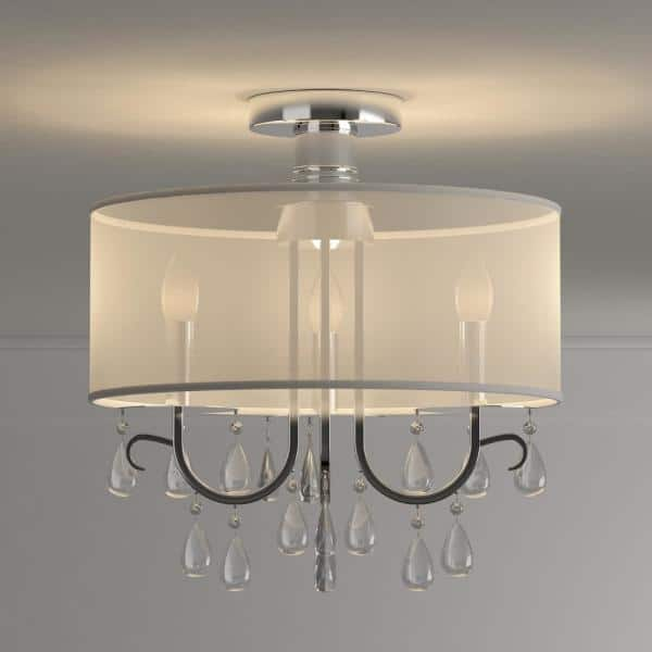 Warehouse Of Tiffany Muses 3 Light Chrome Chandelier With Shade Rl7947 3 The Home Depot