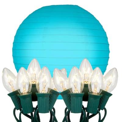 10 in. 10-Light Turquoise Paper Lantern String Lights