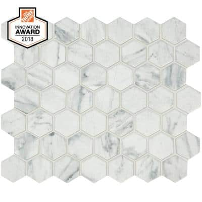 Carrara 10 in. x 12 in. x 6.35 mm Ceramic Hexagon Mosaic Floor and Wall Tile (0.81 sq. ft./Each)