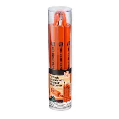 Carpenter Pencils with Original Sharpener (10-Pack)
