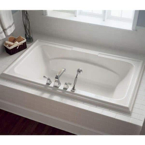 American Standard Town Square 60 In X 42 In Center Drain Everclean Air Bath Tub In White 2748 068c 020 The Home Depot