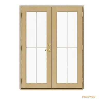 60 in. x 80 in. W-2500 Desert Sand Clad Wood Right-Hand 4 Lite French Patio Door w/Unfinished Interior