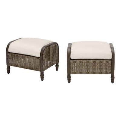 Windsor Brown Wicker Outdoor Patio Ottoman with CushionGuard Almond Tan Cushions (2-Pack)