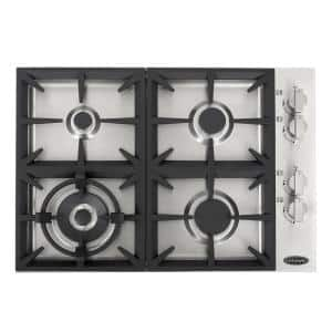 30 in. Gas Cooktop in Stainless Steel with 4 Italian Made Burners