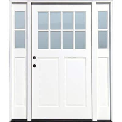 Cottage 70 in. x 80 in. White Right Hand Inswing Clear 8-Lite 2-Panel Painted Wood Prehung Entry Door W/ 11 in. Sidelite