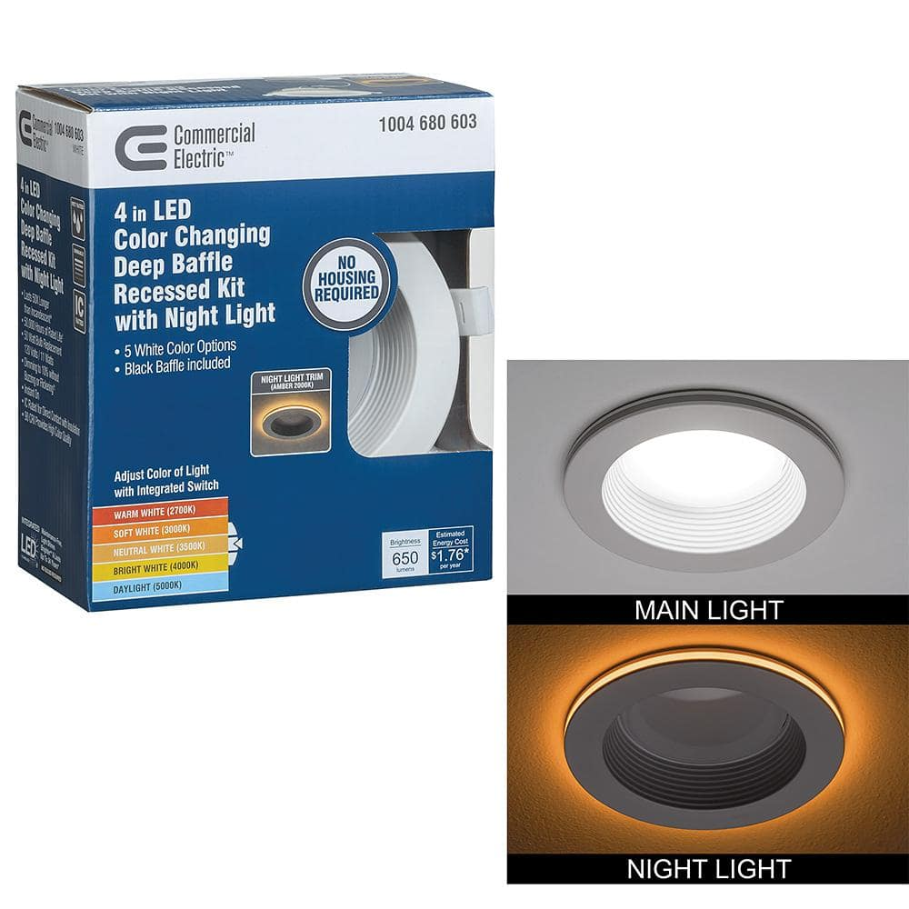 commercial electric 4 in canless selectable integrated led recessed trim with night light downlight 650 lumens dimmable 53822101 the home depot