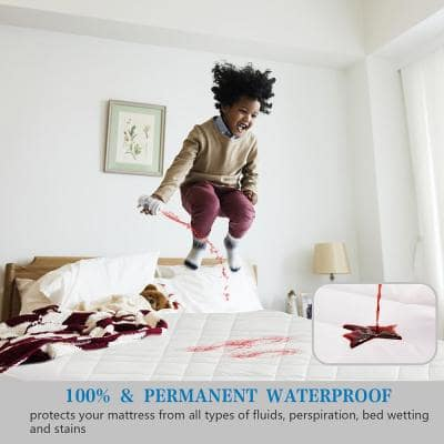 Microfiber Quilted 100% Waterproof Full Mattress Protector Stretches up to 16 in. Deep