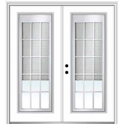 72 in. x 80 in. Internal Blinds and Grilles Right-Hand Full Lite Clear Low-E Primed Fiberglass Smooth Prehung Front Door
