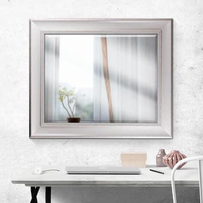 Medium Rectangle White Modern Mirror (34.75 in. H x 28.75 in. W)