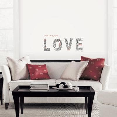 Black Lettering Love Topography Peel and Stick Wall Decals (2-Sheets)