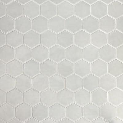 Maine Cement Gray 12 in. x 12 in. Hexagon Matte Ceramic Mosaic Floor and Wall Tile (0.96 sq. ft./Sheet)