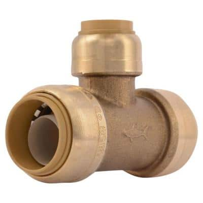 3/4 in. x 3/4 in. x 1/2 in. Push-to-Connect Brass Reducing Tee Fitting