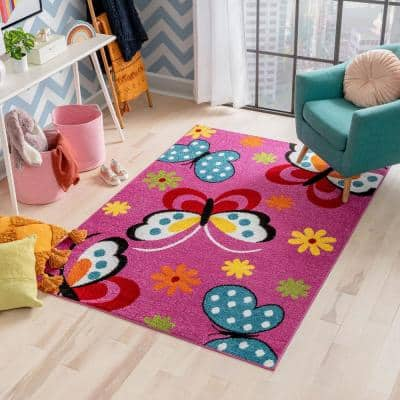 StarBright Daisy Butterflies Pink Modern Abstract 7 ft. 10 in. x 10 ft. 6 in. Kids Area Rug