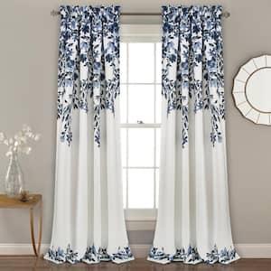 Navy/White Floral Rod Pocket Room Darkening Curtain - 52 in. W x 95 in. L (Set of 2)