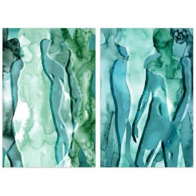 """Water Women"" Glass Wall Art Printed on Frameless Free Floating Tempered Glass Panel"