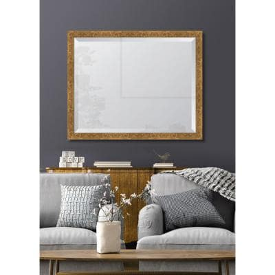 Medium Rectangle Gold Beveled Glass Contemporary Mirror (31 in. H x 25 in. W)