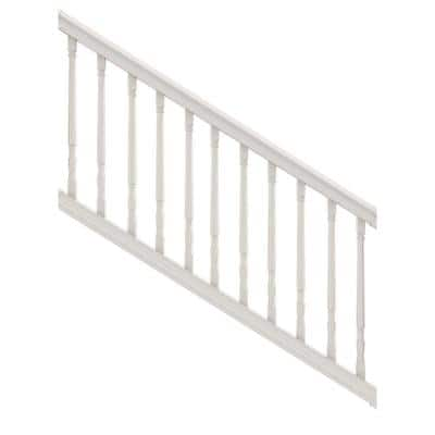 Bella Premier Series 6 ft. x 36 in. White PolyComposite Stair Rail Kit with Colonial Balusters