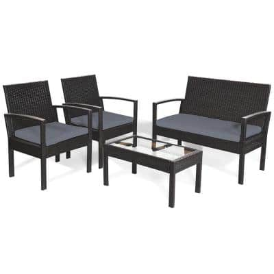 4-Piece Wicker Outdoor Loveseat with Gray Cushions