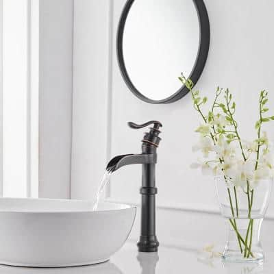 Oil Rubbed Bronze Waterfall Spout Single Handle Lever Hole Bathroom Vessel Sink Faucet Commercial