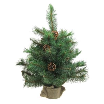 18 in. Unlit Royal Oregon Pine Artificial Christmas Tree in Burlap Base