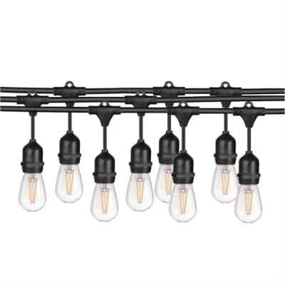 Indoor /Outdoor 24 ft. Plug-In Edison Bulb LED 7 Light Waterproof String Light with Plug Connector Light Bulbs Included