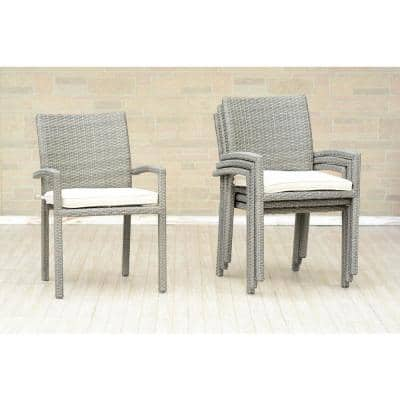 Liberty Grey Patio Dining Armchair with Off-White Cushion (4-Pack)